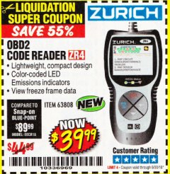 Harbor Freight Coupon ZURICH OBD2 CODE READER ZR4 Lot No. 63808 Expired: 6/30/18 - $39.99