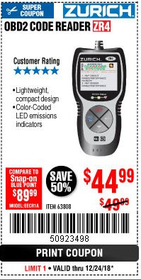 Harbor Freight Coupon ZURICH OBD2 CODE READER ZR4 Lot No. 63808 Expired: 12/24/18 - $44.99