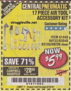 Harbor Freight Coupon 17 PIECE AIR TOOL ACCESSORY KIT Lot No. 63048/63133/61449/64132/68236 Expired: 8/18/18 - $5.99