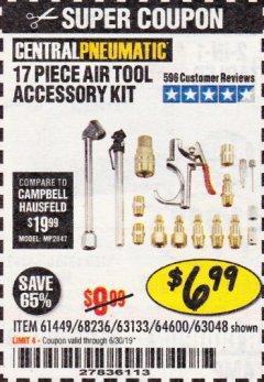 Harbor Freight Coupon 17 PIECE AIR TOOL ACCESSORY KIT Lot No. 63048/63133/61449/64132/68236 Expired: 6/30/19 - $6.99