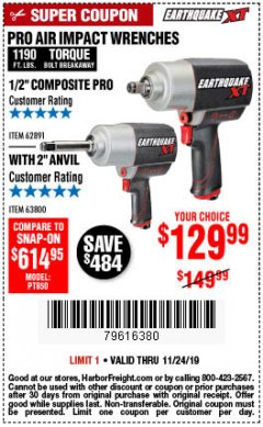 "Harbor Freight Coupon EARTHQUAKE XT 1/2"" PRO AIR IMPACT WRENCHES Lot No. 62891/63800 Expired: 11/24/19 - $129.99"