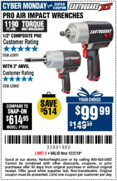 "Harbor Freight Coupon EARTHQUAKE XT 1/2"" PRO AIR IMPACT WRENCHES Lot No. 62891/63800 Expired: 12/2/19 - $99.99"