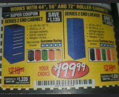 "Harbor Freight Coupon 16"" END LOCKERS Lot No. 64353/64157/64452/64451/64454/64453 Valid Thru: 4/30/20 - $199.99"