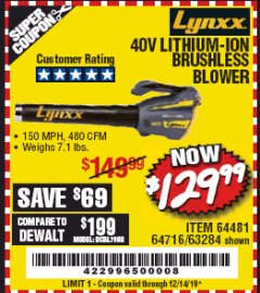 Harbor Freight Coupon LYNXX 40 VOLT LITHIUM CORDLESS BRUSHLESS BLOWER Lot No. 64481/63284/64716 Expired: 12/14/19 - $129.99