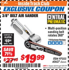"Harbor Freight ITC Coupon 3/8"" BELT AIR SANDER Lot No. 97055/60627 Expired: 12/31/19 - $19.99"