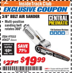 "Harbor Freight ITC Coupon 3/8"" BELT AIR SANDER Lot No. 97055/60627 Valid: 2/1/20 - 2/29/20 - $19.99"