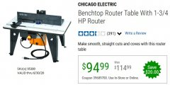 Harbor Freight Coupon BENCHTOP ROUTER TABLE WITH 1-3/4 HP ROUTER Lot No. 95380 EXPIRES: 6/30/20 - $94.99
