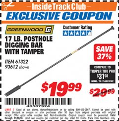 Harbor Freight ITC Coupon 17 LB. POSTHOLE DIGGING BAR WITH TAMPER Lot No. 61322/93612 Expired: 11/30/18 - $19.99