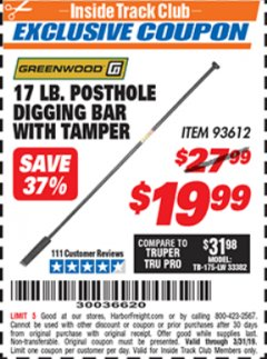 Harbor Freight ITC Coupon 17 LB. POSTHOLE DIGGING BAR WITH TAMPER Lot No. 61322/93612 Expired: 3/31/19 - $19.99