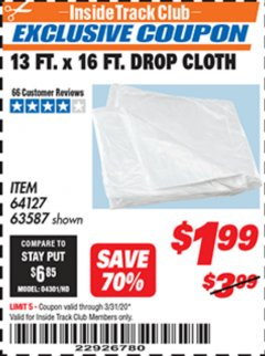 Harbor Freight ITC Coupon 13 FT. X 16 FT. DROP CLOTH  Lot No. 63587/60348 Expired: 3/31/20 - $1.99
