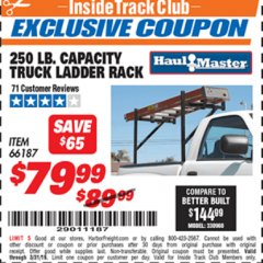 Harbor Freight ITC Coupon 250 LB. CAPACITY TRUCK LADDER RACK Lot No. 66187 Expired: 3/31/19 - $79.99