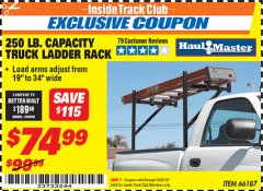 Harbor Freight ITC Coupon 250 LB. CAPACITY TRUCK LADDER RACK Lot No. 66187 Expired: 9/30/19 - $74.99