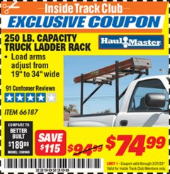 Harbor Freight ITC Coupon 250 LB. CAPACITY TRUCK LADDER RACK Lot No. 66187 Expired: 3/31/20 - $74.99