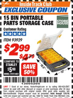 Harbor Freight ITC Coupon 15 BIN PORTABLE PARTS STORAGE CASE Lot No. 93929 Expired: 7/31/18 - $2.99
