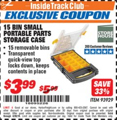 Harbor Freight ITC Coupon 15 BIN PORTABLE PARTS STORAGE CASE Lot No. 93929 Expired: 4/30/19 - $3.99