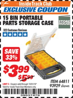 Harbor Freight ITC Coupon 15 BIN PORTABLE PARTS STORAGE CASE Lot No. 93929 Expired: 10/31/19 - $3.99