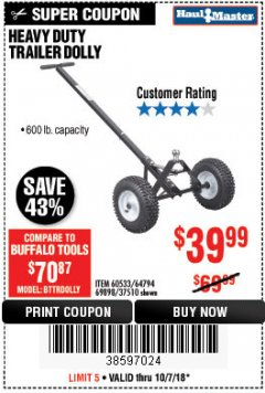 Harbor Freight Coupon HEAVY DUTY TRAILER DOLLY Lot No. 69898/37510/60533 Expired: 10/7/18 - $39.99