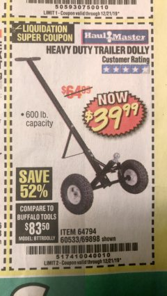 Harbor Freight Coupon HEAVY DUTY TRAILER DOLLY Lot No. 69898/37510/60533 Expired: 12/21/19 - $39.99