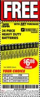 Harbor Freight FREE Coupon 24 PACK HEAVY DUTY BATTERIES Lot No. 61675/68382/61323/61677/68377/61273 Expired: 5/22/17 - FWP