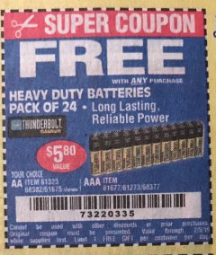 Harbor Freight FREE Coupon 24 PACK HEAVY DUTY BATTERIES Lot No. 61675/68382/61323/61677/68377/61273 Expired: 2/5/19 - FWP