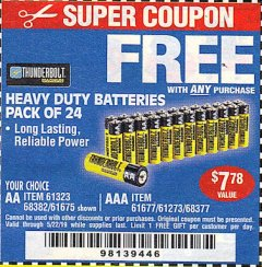 Harbor Freight FREE Coupon 24 PACK HEAVY DUTY BATTERIES Lot No. 61675/68382/61323/61677/68377/61273 Expired: 5/22/19 - FWP