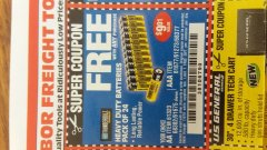 Harbor Freight FREE Coupon 24 PACK HEAVY DUTY BATTERIES Lot No. 61675/68382/61323/61677/68377/61273 Expired: 7/4/19 - FWP