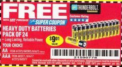 Harbor Freight FREE Coupon 24 PACK HEAVY DUTY BATTERIES Lot No. 61675/68382/61323/61677/68377/61273 Expired: 5/31/19 - FWP