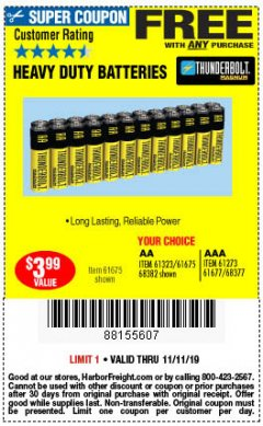 Harbor Freight FREE Coupon 24 PACK HEAVY DUTY BATTERIES Lot No. 61675/68382/61323/61677/68377/61273 Expired: 11/11/19 - FWP