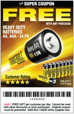 Harbor Freight FREE Coupon 24 PACK HEAVY DUTY BATTERIES Lot No. 61675/68382/61323/61677/68377/61273 Expired: 1/26/20 - FWP
