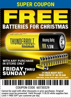 Harbor Freight FREE Coupon 24 PACK HEAVY DUTY BATTERIES Lot No. 61675/68382/61323/61677/68377/61273 Expired: 11/8/20 - FWP