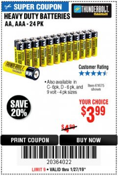Harbor Freight Coupon 24 PACK HEAVY DUTY BATTERIES Lot No. 61675/68382/61323/61677/68377/61273 Expired: 1/27/19 - $3.99