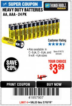Harbor Freight Coupon 24 PACK HEAVY DUTY BATTERIES Lot No. 61675/68382/61323/61677/68377/61273 Expired: 2/10/19 - $3.99
