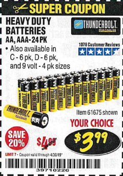Harbor Freight Coupon 24 PACK HEAVY DUTY BATTERIES Lot No. 61675/68382/61323/61677/68377/61273 Expired: 4/30/19 - $3.99