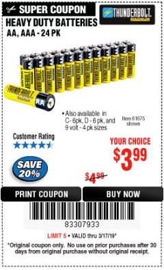 Harbor Freight Coupon 24 PACK HEAVY DUTY BATTERIES Lot No. 61675/68382/61323/61677/68377/61273 Expired: 3/17/19 - $3.99