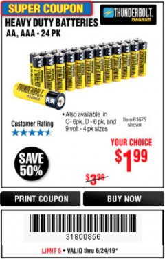 Harbor Freight Coupon 24 PACK HEAVY DUTY BATTERIES Lot No. 61675/68382/61323/61677/68377/61273 Expired: 6/24/19 - $1.99