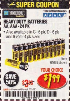 Harbor Freight Coupon 24 PACK HEAVY DUTY BATTERIES Lot No. 61675/68382/61323/61677/68377/61273 Expired: 7/31/19 - $1.99