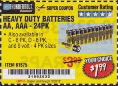 Harbor Freight Coupon 24 PACK HEAVY DUTY BATTERIES Lot No. 61675/68382/61323/61677/68377/61273 Expired: 10/30/19 - $1.99
