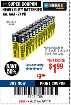 Harbor Freight Coupon 24 PACK HEAVY DUTY BATTERIES Lot No. 61675/68382/61323/61677/68377/61273 Expired: 9/22/19 - $1.99