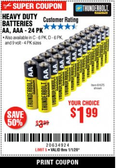 Harbor Freight Coupon 24 PACK HEAVY DUTY BATTERIES Lot No. 61675/68382/61323/61677/68377/61273 Expired: 1/1/20 - $1.99