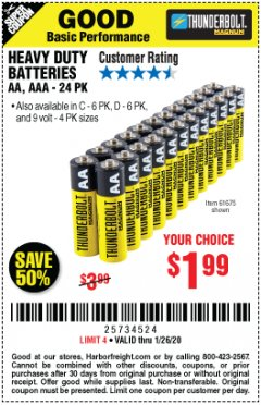 Harbor Freight Coupon 24 PACK HEAVY DUTY BATTERIES Lot No. 61675/68382/61323/61677/68377/61273 Expired: 1/26/20 - $1.99