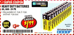 Harbor Freight Coupon 24 PACK HEAVY DUTY BATTERIES Lot No. 61675/68382/61323/61677/68377/61273 Expired: 3/31/20 - $1.99