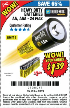 Harbor Freight Coupon 24 PACK HEAVY DUTY BATTERIES Lot No. 61675/68382/61323/61677/68377/61273 Expired: 3/8/20 - $1.39
