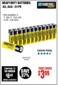 Harbor Freight Coupon 24 PACK HEAVY DUTY BATTERIES Lot No. 61675/68382/61323/61677/68377/61273 Expired: 10/31/19 - $3.99