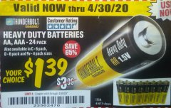 Harbor Freight Coupon 24 PACK HEAVY DUTY BATTERIES Lot No. 61675/68382/61323/61677/68377/61273 Expired: 6/30/20 - $1.39
