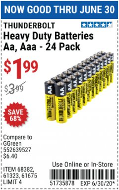 Harbor Freight Coupon 24 PACK HEAVY DUTY BATTERIES Lot No. 61675/68382/61323/61677/68377/61273 Expired: 6/30/20 - $1.99