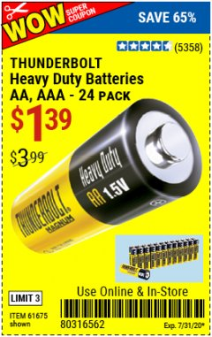 Harbor Freight Coupon 24 PACK HEAVY DUTY BATTERIES Lot No. 61675/68382/61323/61677/68377/61273 Valid: 6/30/20 - 7/31/20 - $1.29