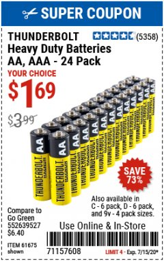 Harbor Freight Coupon 24 PACK HEAVY DUTY BATTERIES Lot No. 61675/68382/61323/61677/68377/61273 Valid: 7/1/20 - 7/15/20 - $1.69