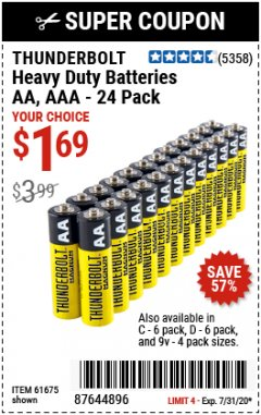 Harbor Freight Coupon 24 PACK HEAVY DUTY BATTERIES Lot No. 61675/68382/61323/61677/68377/61273 Expired: 7/31/20 - $1.69