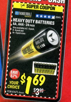 Harbor Freight Coupon 24 PACK HEAVY DUTY BATTERIES Lot No. 61675/68382/61323/61677/68377/61273 Expired: 7/31/20 - $1.99