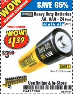 Harbor Freight Coupon 24 PACK HEAVY DUTY BATTERIES Lot No. 61675/68382/61323/61677/68377/61273 Expired: 9/1/20 - $1.39